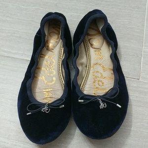 Sam Edelman Blue Faux Suede Ballerina Flats